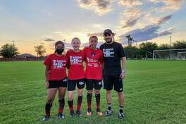 Laredo Heat SC Youth Academy U13 defenders Julieta Onofre, Samantha DeHoyos and Milly Garcia and head coach Juan Ibarra are pictured after practice on Monday, June 14, 2021.