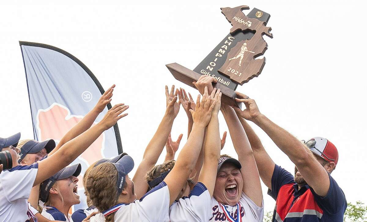 Unionville-Sebewaing Area softball pitcher Brynn Polega shattered the record for strikeouts in a state championship game with 19 as the Patriots (40-3) blew out the Rudyard Bulldogs on the way to a 14-1 victory and the 2021 MHSAA Division 4 State Championship.