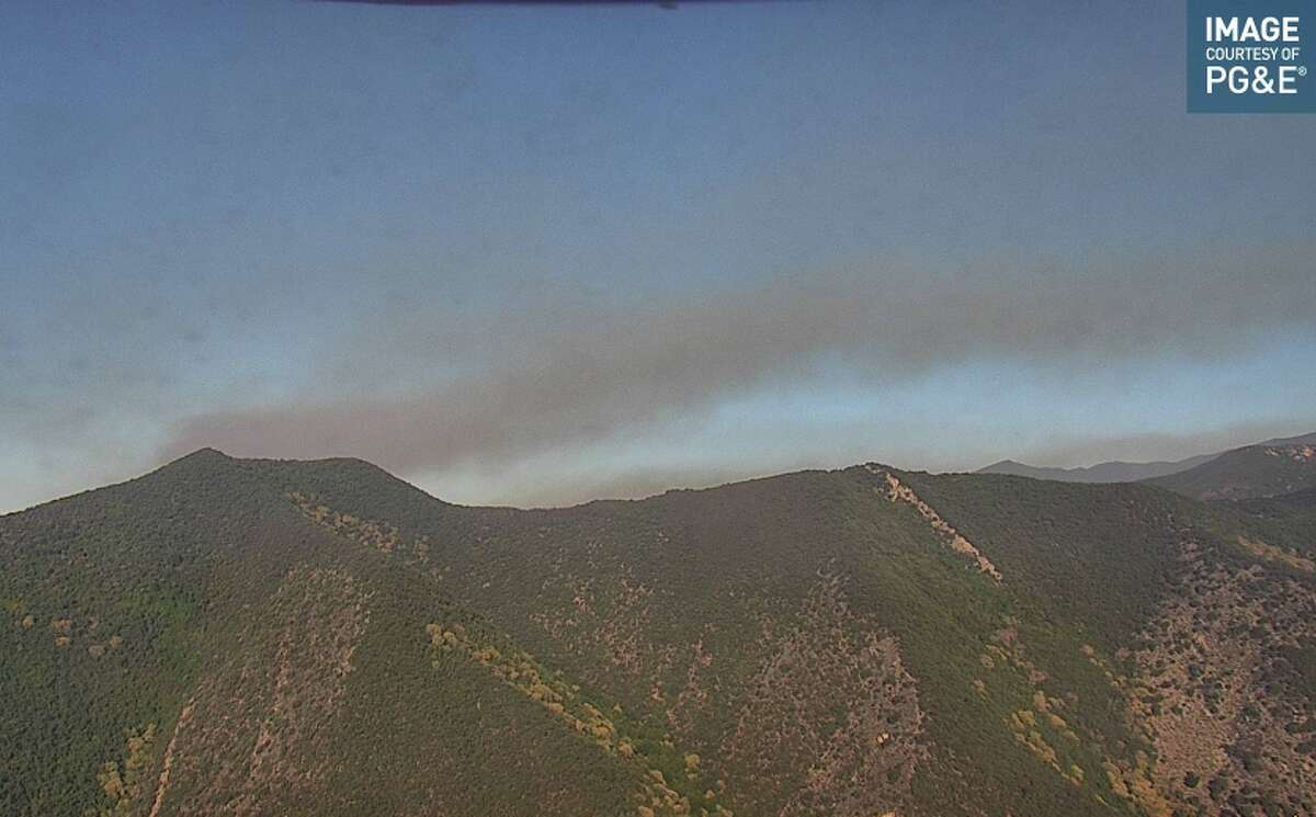A wildfire camera shows the Willow Fire in Big Sur on the morning of Sunday, June 20, 2021.