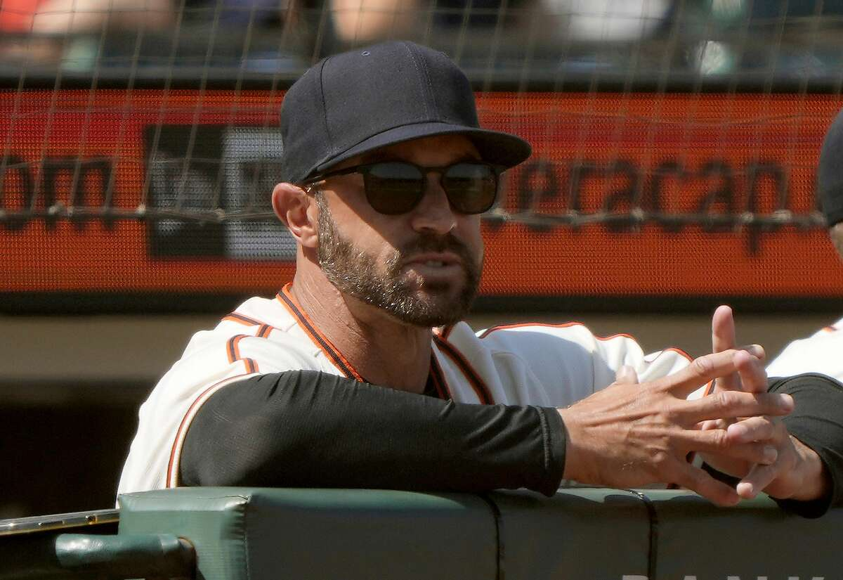 SAN FRANCISCO, CALIFORNIA - JUNE 19: Manager Gabe Kapler #19 of the San Francisco Giants looks on from the dugout in the top of the six inning of the game against the Philadelphia Phillies at Oracle Park on June 19, 2021 in San Francisco, California. (Photo by Thearon W. Henderson/Getty Images)