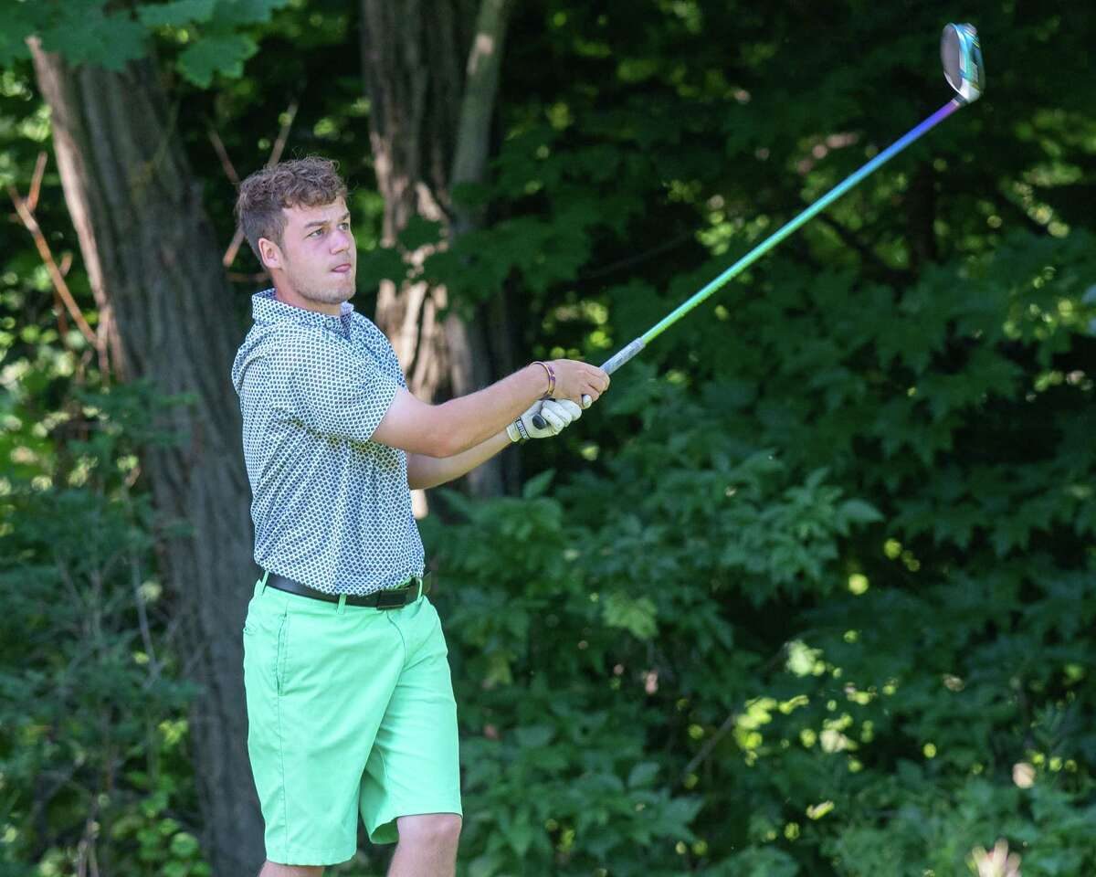 Kyle Adams takes a shot during the final round of the Schenectady Classic at Schenectady Municipal Golf Course on Sunday, June 20, 2021 (Jim Franco/Special to the Times Union)