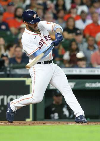 Houston Astros third baseman Abraham Toro (13) connect for an RBI singles in the first inning against Chicago White Sox at Minute Maid Park in Houston on Sunday, June 20, 2021. Photo: Elizabeth Conley, Staff Photographer / © 2021 Houston Chronicle