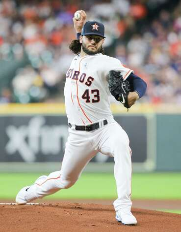 Houston Astros starting pitcher Lance McCullers Jr. (43) throws out the first pitch against Chicago White Sox shortstop Tim Anderson (7) in the first inning at Minute Maid Park in Houston on Sunday, June 20, 2021. Photo: Elizabeth Conley, Staff Photographer / © 2021 Houston Chronicle