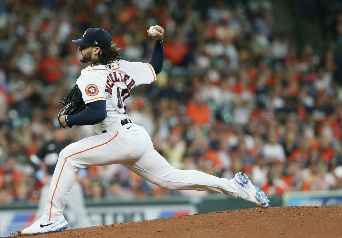 Houston Astros starting pitcher Lance McCullers Jr. (43) pitches in the second inning at Minute Maid Park in Houston on Sunday, June 20, 2021.
