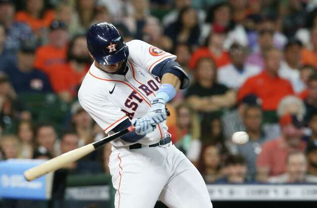 Houston Astros first baseman Taylor Jones (28) connects grounds a force out ending the first inning against Chicago White Sox at Minute Maid Park in Houston on Sunday, June 20, 2021. Photo: Elizabeth Conley, Staff Photographer / © 2021 Houston Chronicle