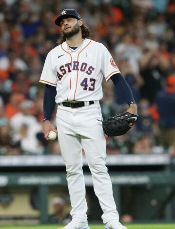 Houston Astros starting pitcher Lance McCullers Jr. (43) reacts to Chicago White Sox third baseman Jake Lamb (23) home run inn the second inning making the score 2-1 Sox at Minute Maid Park in Houston on Sunday, June 20, 2021. Photo: Elizabeth Conley, Staff Photographer / © 2021 Houston Chronicle
