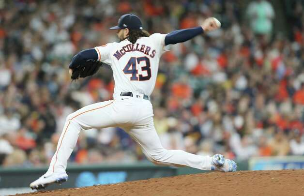 Houston Astros starting pitcher Lance McCullers Jr. (43) is in a motion blur as he pitches against Chicago White Sox in the fifth inning at Minute Maid Park in Houston on Sunday, June 20, 2021. Photo: Elizabeth Conley, Staff Photographer / © 2021 Houston Chronicle