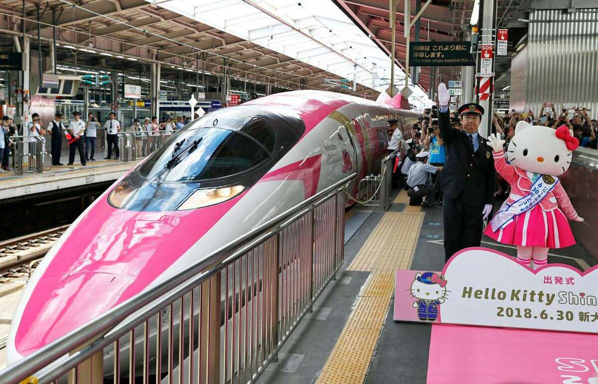 A Hello Kitty-themed bullet train at JR Shin-Osaka Station, in Osaka, Japan.