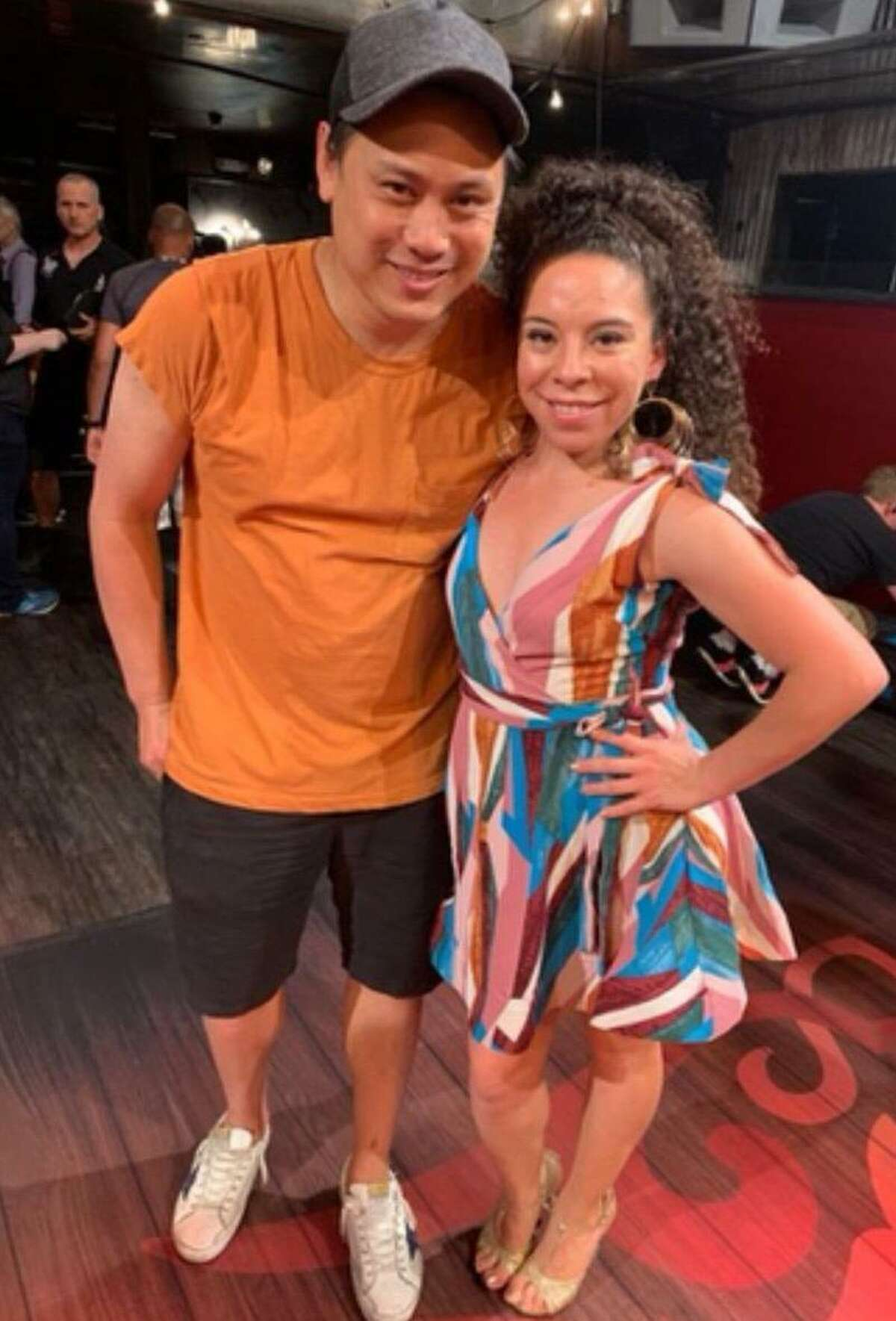 """Veronica Castilla is pictured with """"In the Heights"""" director Jon Chu."""