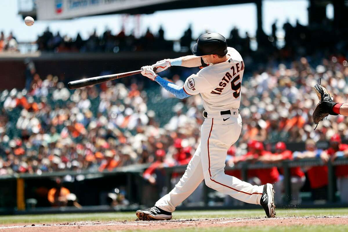 San Francisco Giants' Mike Yastrzemski hits a 2-run home run in 1st inning against Philadelphia Phillies during MLB game at Oracle Park in San Francisco, Calif., on Sunday, June 20, 2021.