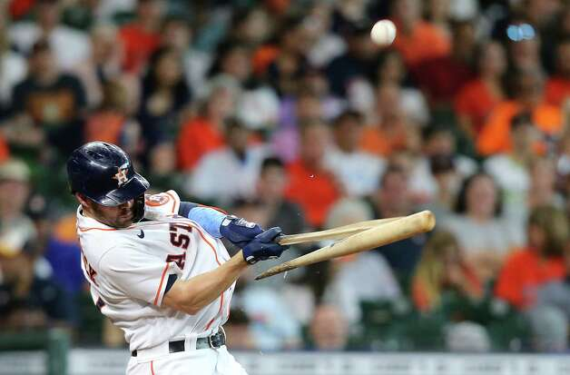 Houston Astros right fielder Chas McCormick (20) breaks his bat against Chicago White Sox inn the seventh inning at Minute Maid Park in Houston on Sunday, June 20, 2021. Photo: Elizabeth Conley, Staff Photographer / © 2021 Houston Chronicle