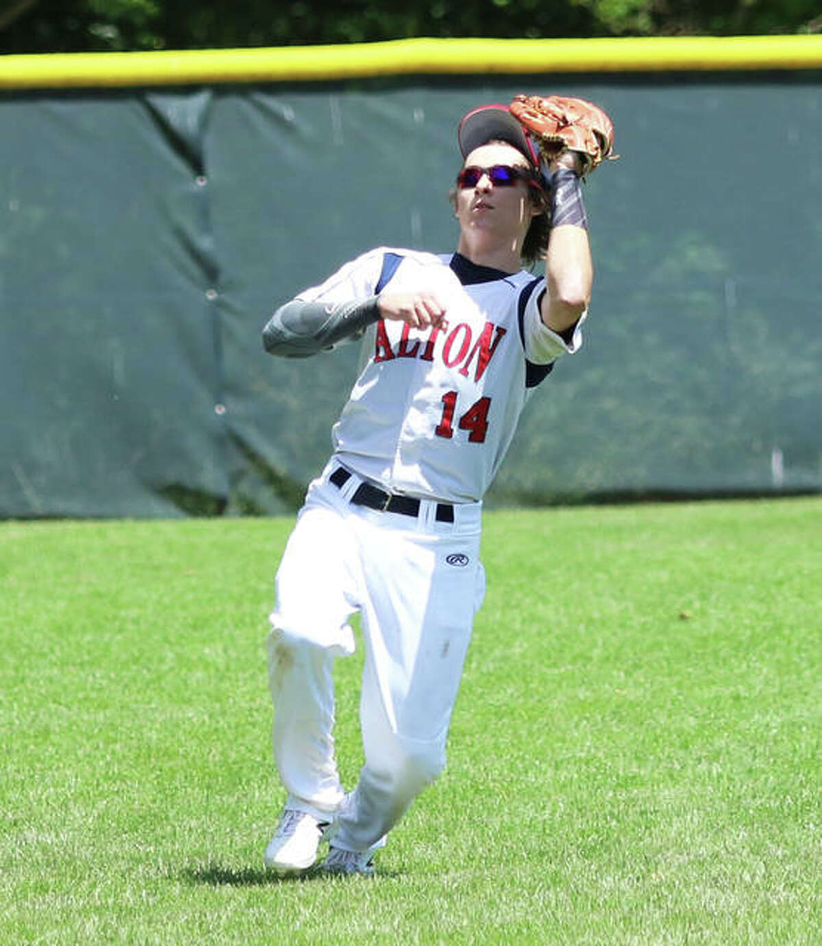 Alton outfielder Preston Schepers had a double in his team's 12-8 win over Lafayette, Indiana Sunday in the John Hayes Best of the Midwest Tournament in Terre Haute, Ind. Schepers is shown making a catch against Washington, Mo. in 2020 action.