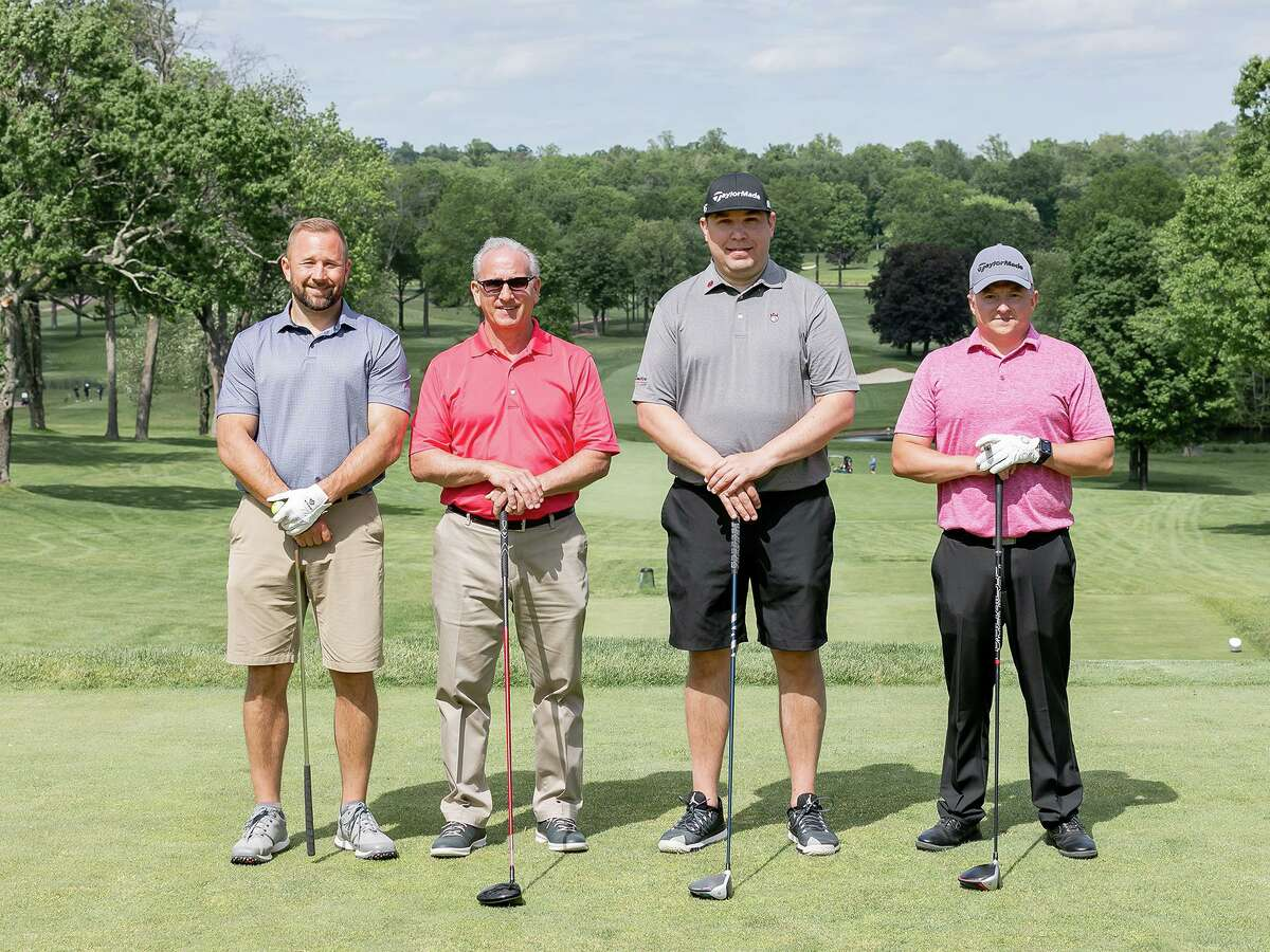 Set to tee off are Dustin Tilford of New Milford (far right) and (from left) Toby Giangrande of Shelton, Eric D'Eramo of Stratford and Rob Janczewski of Trumbull.