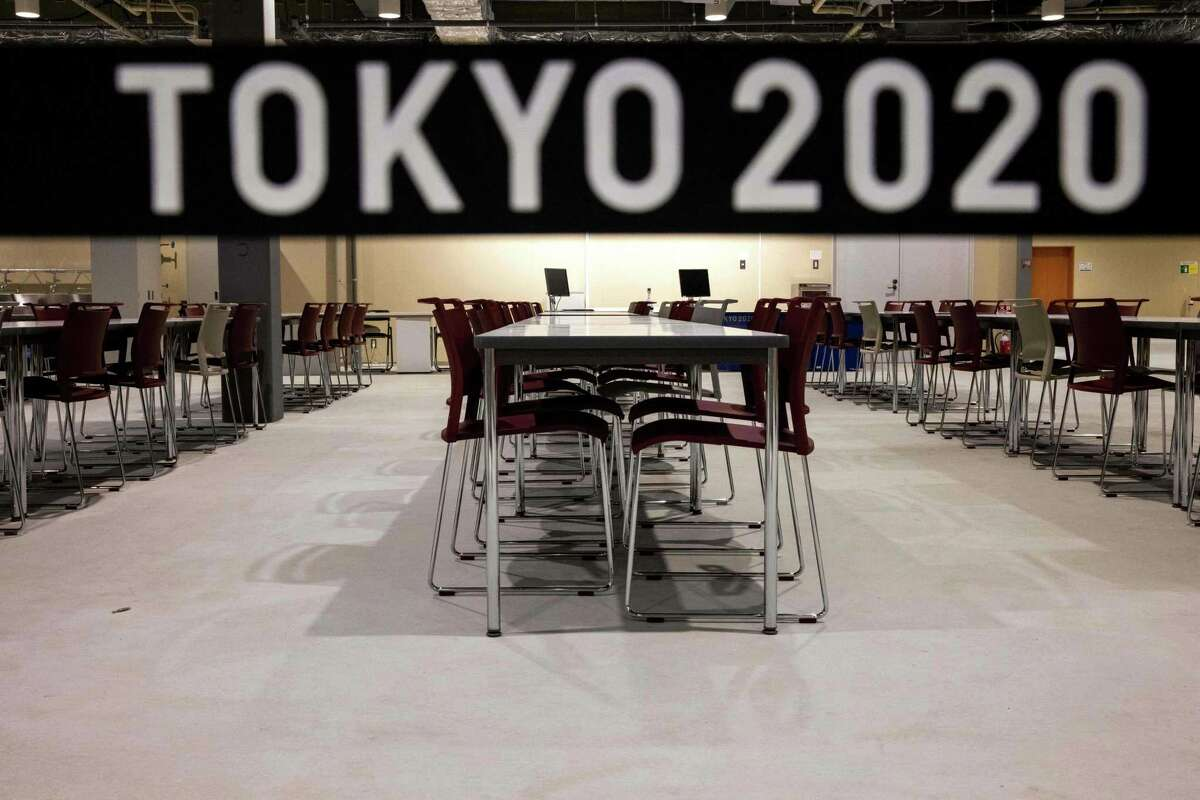 A view of the main dining hall of the Olympic Village during a media tour of the Tokyo 2020 Olympic and Paralympic Village in Tokyo on June 20, 2021. (Photo by Behrouz MEHRI / AFP)