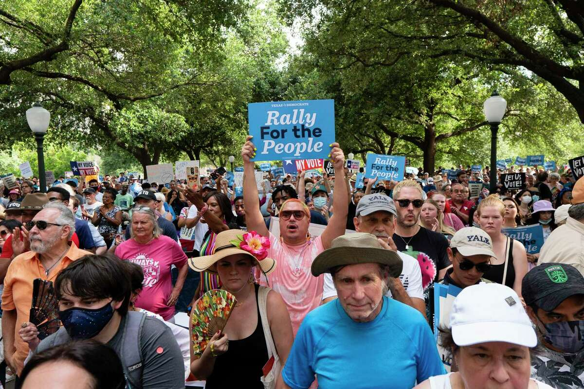 Powered by People, an El Paso-based voter outreach group founded by former Texas Rep. Beto O'Rourke, hosted a rally in support of voting rights at the Texas Capitol in Austin on June 20, 2021.