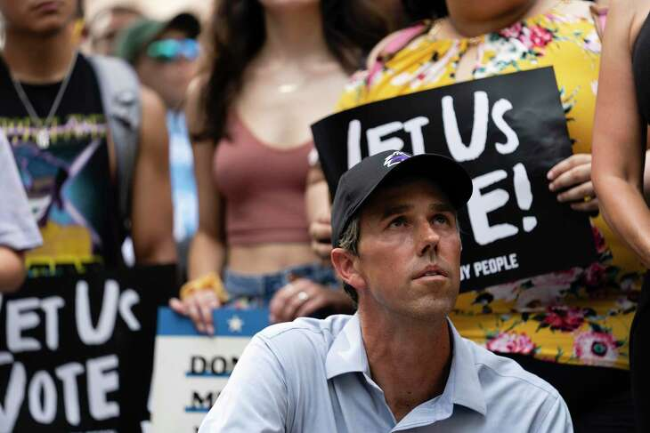 Former Texas Rep. Beto O'Rourke waits to speak at a rally Sunday at the Texas Capitol in Austin.