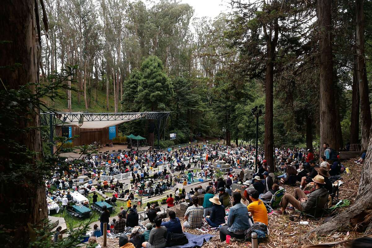 People watch Ledisi perform at the Stern Grove Festival, which opened the season with limited capacity.