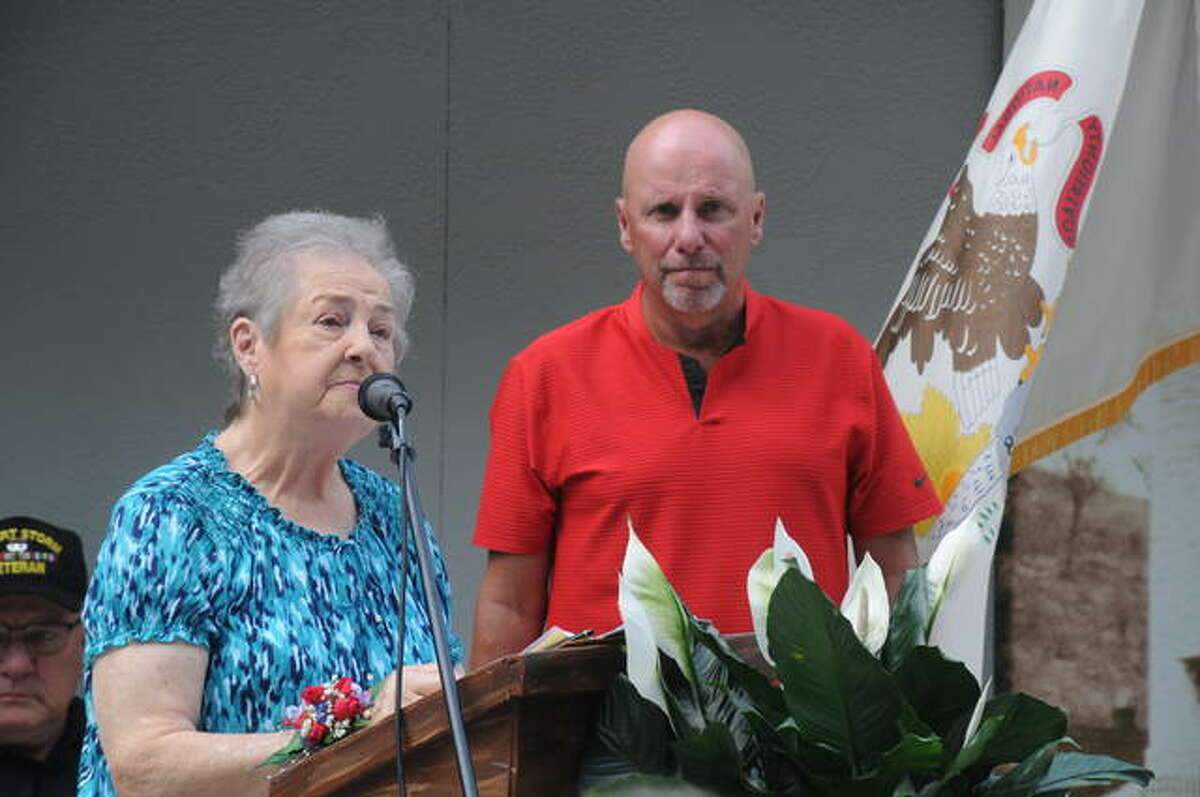 Bobbie Amburg, widow of Edward Amburg, for whom the new Grafton history museum is named, and Chuck Amburg, son, spoke during the grand opening ceremony for the Edward Amburg History Museum Saturday in Grafton.