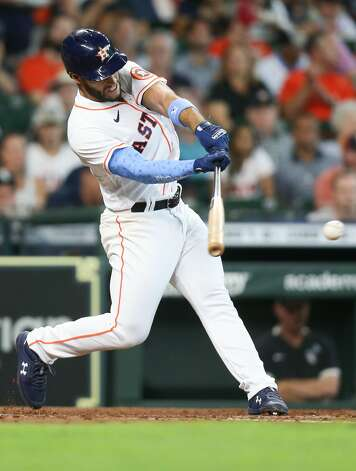 Houston Astros third baseman Abraham Toro (13) singles in the first inning against the Chicago White Sox at Minute Maid Park in Houston on Sunday, June 20, 2021. Houston Astros won the game 8-2. Photo: Elizabeth Conley/Staff Photographer / © 2021 Houston Chronicle