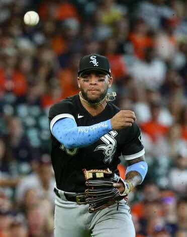 Chicago White Sox third baseman Yoan Moncada (10) gets Houston Astros catcher Martin Maldonado (15) out at first in the second inning at Minute Maid Park in Houston on Sunday, June 20, 2021. Houston Astros won the game 8-2. Photo: Elizabeth Conley/Staff Photographer / © 2021 Houston Chronicle