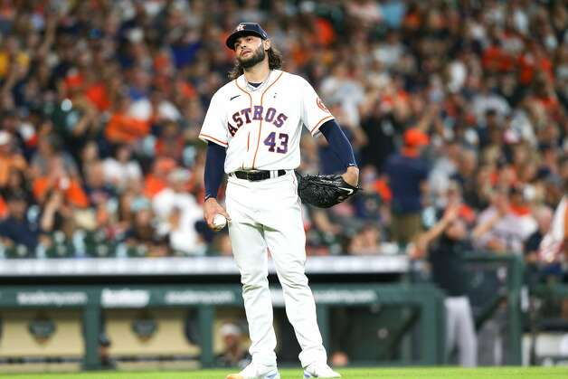 Houston Astros starting pitcher Lance McCullers Jr. (43) reacts to Chicago White Sox third baseman Jake Lamb (23) two-run home run in the second inning at Minute Maid Park in Houston on Sunday, June 20, 2021. Houston Astros won the game 8-2. Photo: Elizabeth Conley/Staff Photographer / © 2021 Houston Chronicle