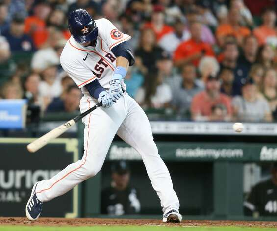 Houston Astros first baseman Taylor Jones (28) connects for an RBI double in the third inning against the Chicago White Sox at Minute Maid Park in Houston on Sunday, June 20, 2021. Houston Astros won the game 8-2. Photo: Elizabeth Conley/Staff Photographer / © 2021 Houston Chronicle