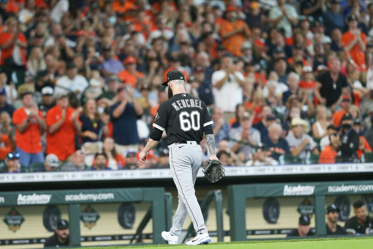 Houston Astros fans cheer form Astro Dallas Keuchel (60) as he is pulled third inning at Minute Maid Park in Houston on Sunday, June 20, 2021. Houston Astros won the game 8-2.