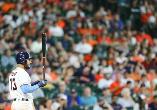 Houston Astros third baseman Abraham Toro (13) stands in the batter box in the eighth inning against the Chicago White Sox at Minute Maid Park in Houston on Sunday, June 20, 2021. Houston Astros won the game 8-2. Photo: Elizabeth Conley/Staff Photographer / © 2021 Houston Chronicle