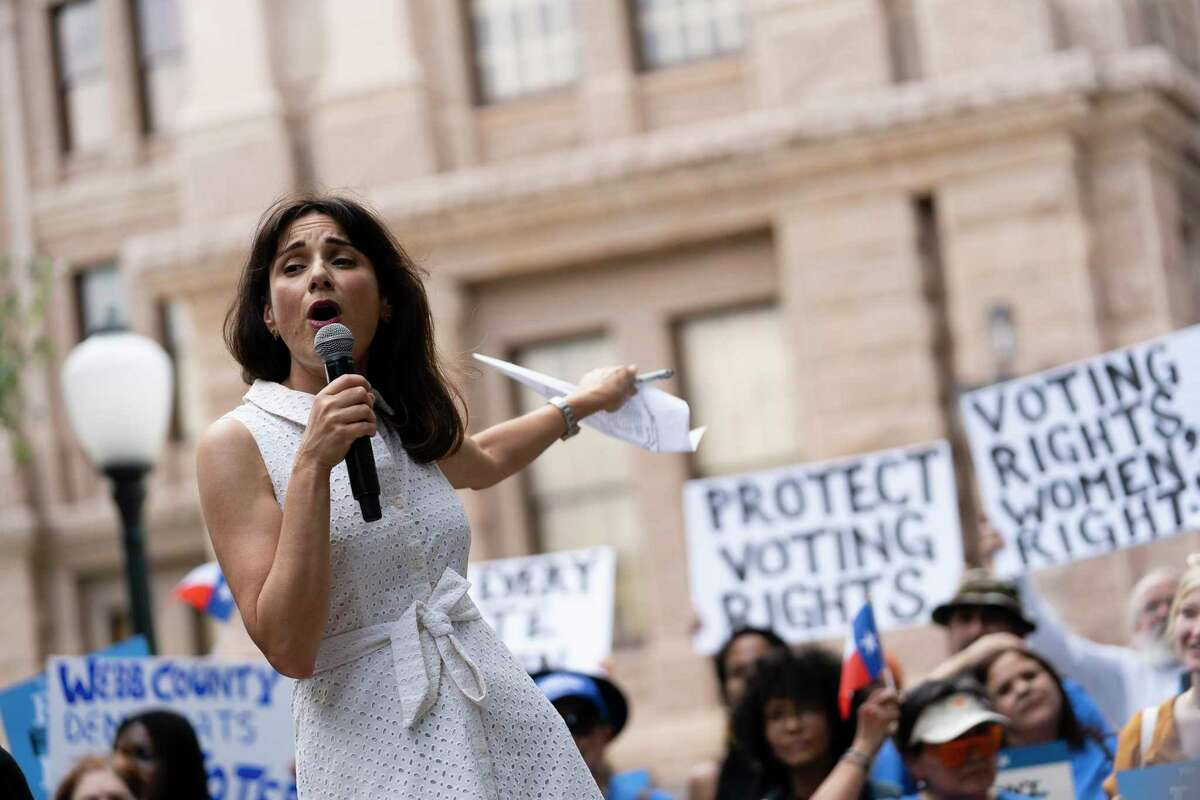 Powered by People, an El Paso-based voter outreach group founded by former Texas Rep. Beto O'Rourke, hosted a rally in support of voting rights at the Texas Capitol in Austin on June 20, 2021. Speaking is Austin state Rep. Gina Hinojosa.