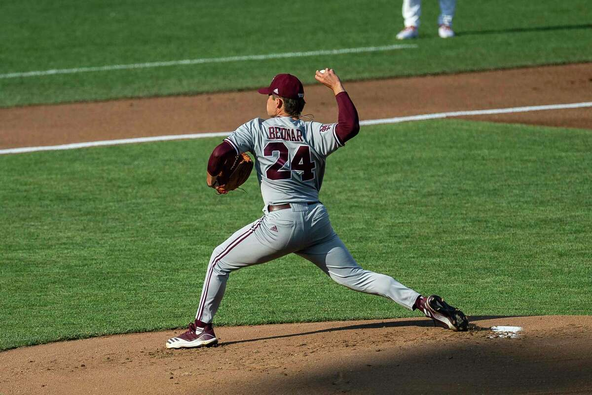 Will Bednar's 15 strikeouts for Mississippi State on Sunday night were the most by a pitcher in the College World Series since Kris Benson fanned 15 for Clemson in 1996.