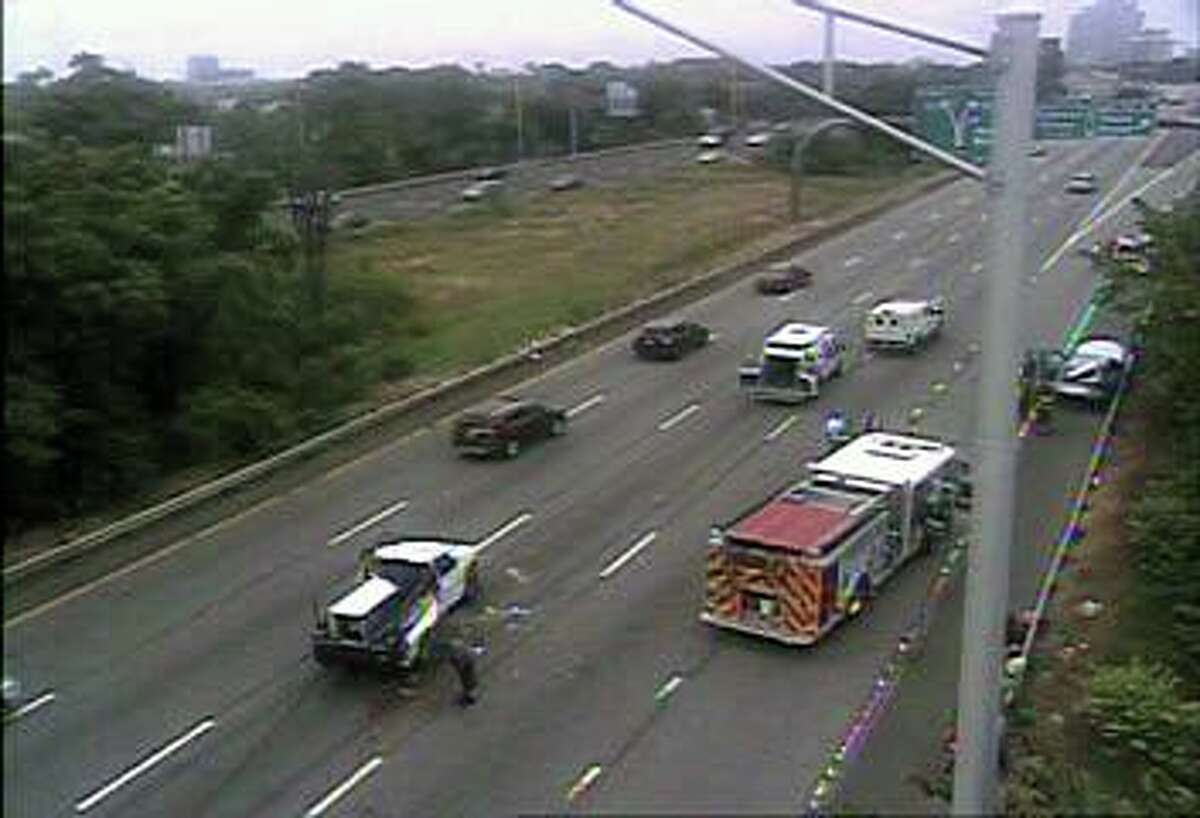 A crash on I-91 in New Haven, Conn., on Monday, June 21, 2021.