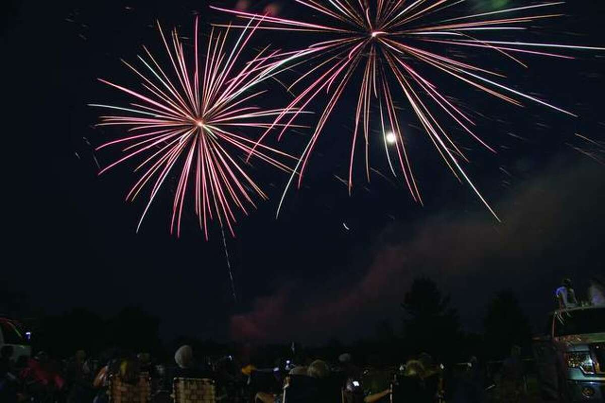 Fireworks explode over the Edwardsville American Legion golf course during a previous Fourth of July display.