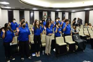 Members of the Laredo Youth Council are inducted as they become members this week at City Hall.