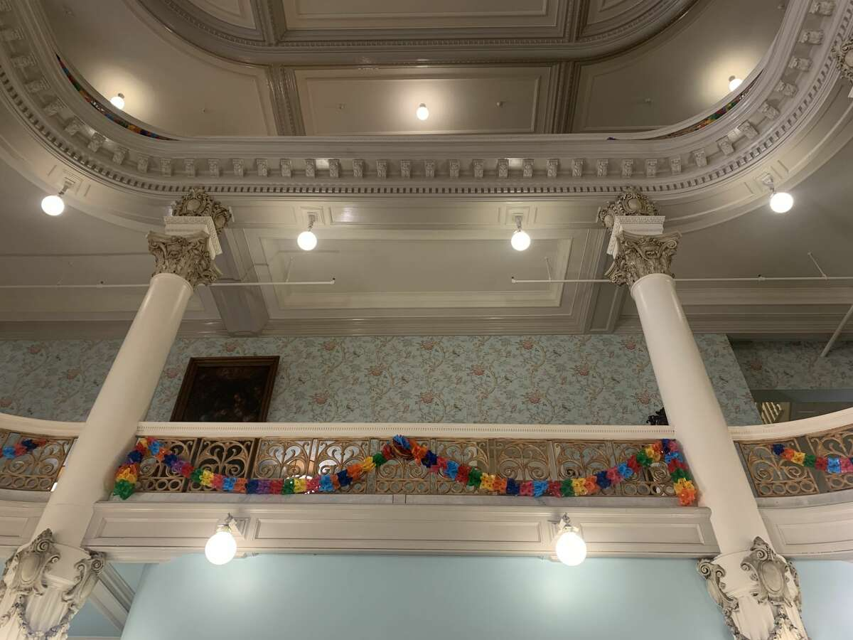 JUNE 2021: Victorian-era banisters at the Menger, decorated for Fiesta