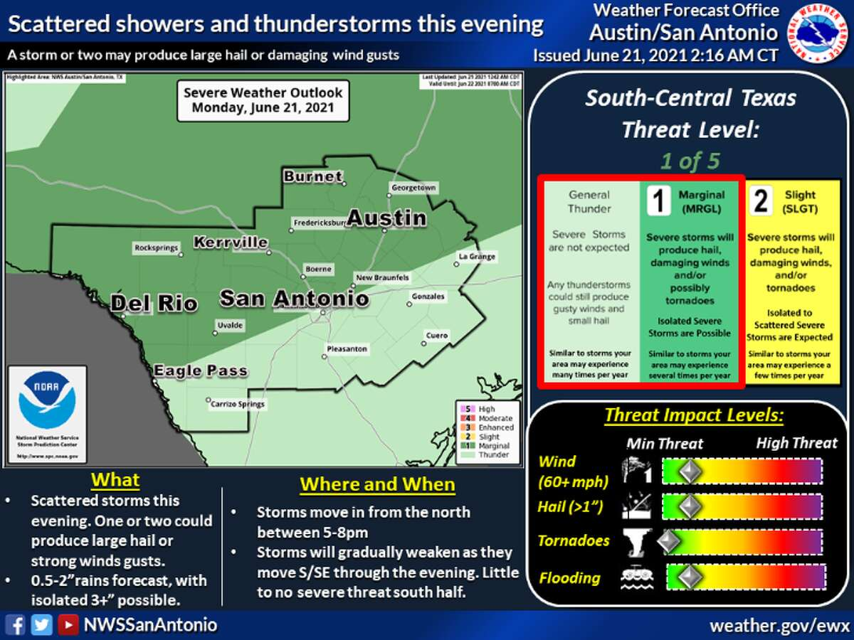 There is a slight chance for storms in the San Antonio area Monday evening,