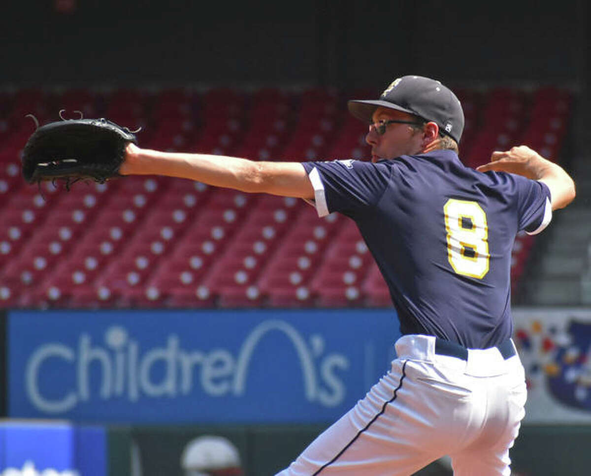 FMCHS pitcher Christian Logue delivers a pitch to a Metro-East Lutheran hitter at Busch Stadium.