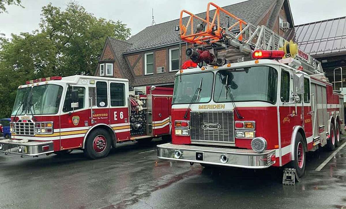 First responders in Meriden, Conn., responded to a reported acid gas release during a fire at a local business on Monday, June 21, 2021.