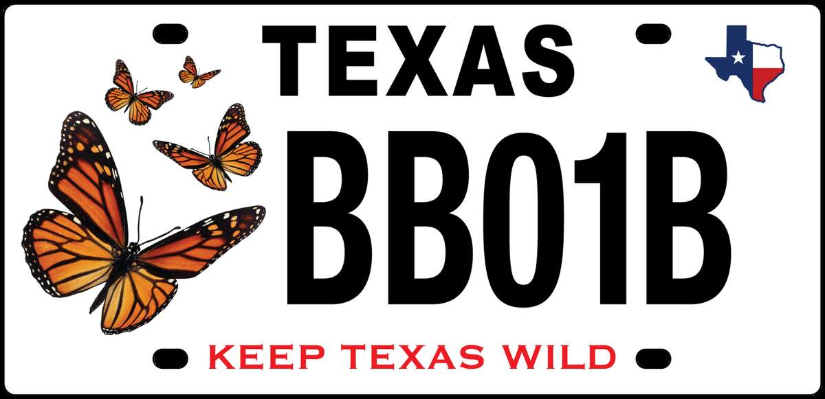 The monarch butterfly license plate helps fund native wildlife management, research, and conservation projects.