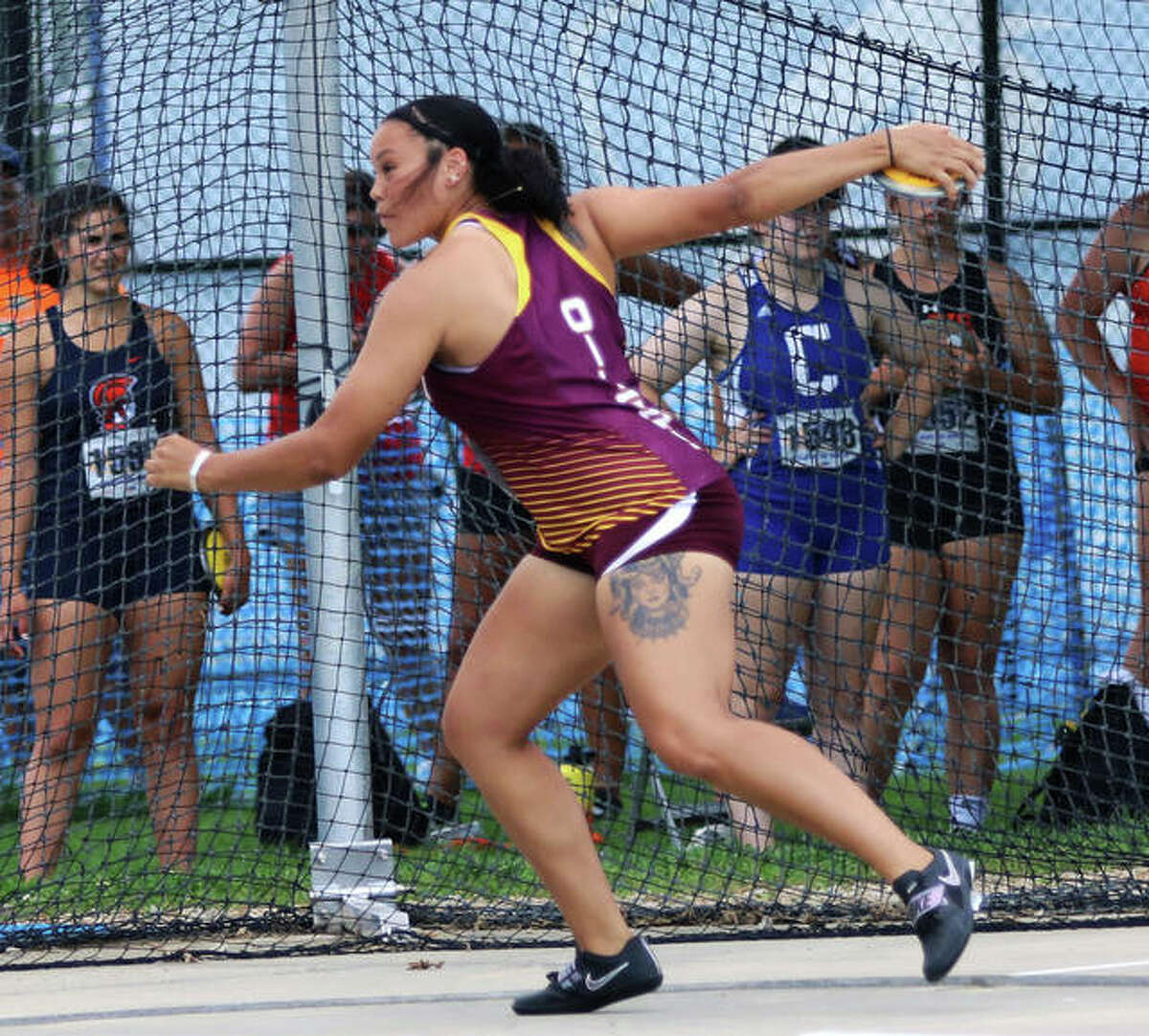 EA-WR graduate Jayden Ulrich competes in the discus at the Class 2A girls track state meet on June 11 at Eastern Illinois University in Charleston. Ulrich won state titles in both the discus and shot put and came back Saturday to win both events at the National Throws Festival in Geneva, Ohio.