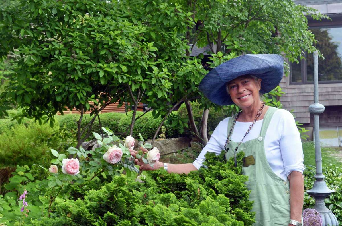 Anda Weyher, the docent in Fred Bland's garden.