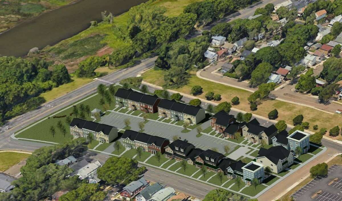 A 56-unit mixed-income townhouse development is planned for the West River neighborhood of New Haven. Ella T. Grasso Boulevard is at left.