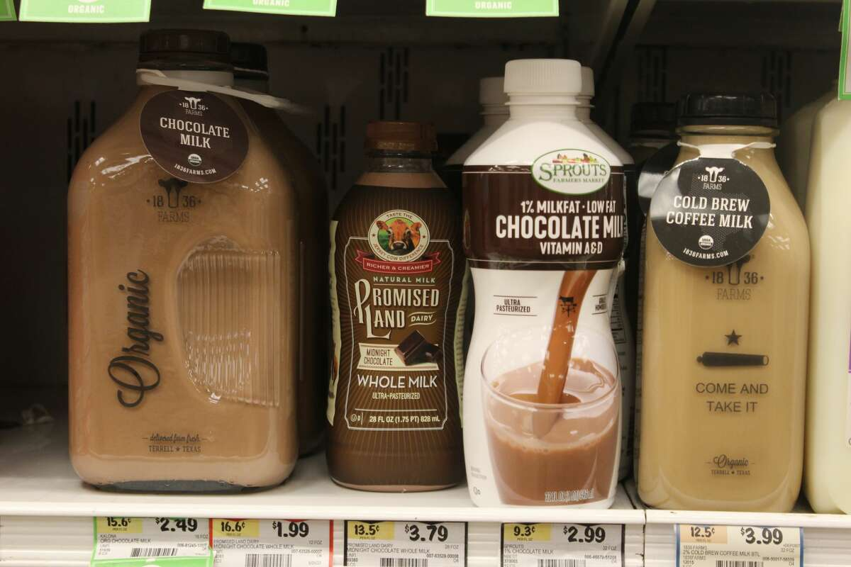 Texas-based 1836 Farms' chocolate milk and cold brew coffee milk sold at the Sprouts grocery store on Callaghan road.