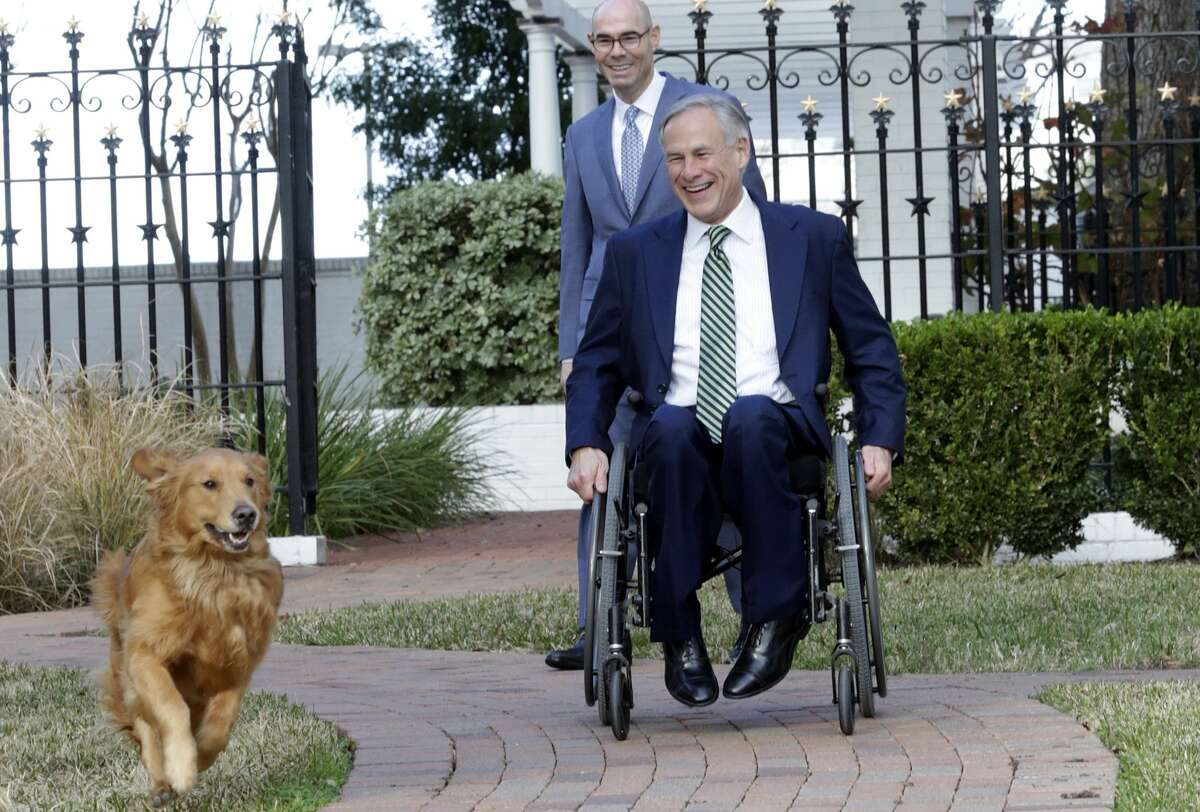"""""""Pancake"""" is released to play after Governor Greg Abbott, Lt. Governor Dan Patrick and Speaker Dennis Bonnen speak at the Governor's Mansion on January 9, 2019."""