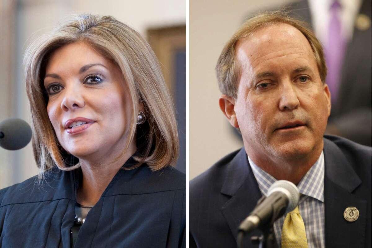 Former Supreme Court Justice Eva Guzman (left) will challenge Texas Attorney General Ken Paxton (right) for his seat.