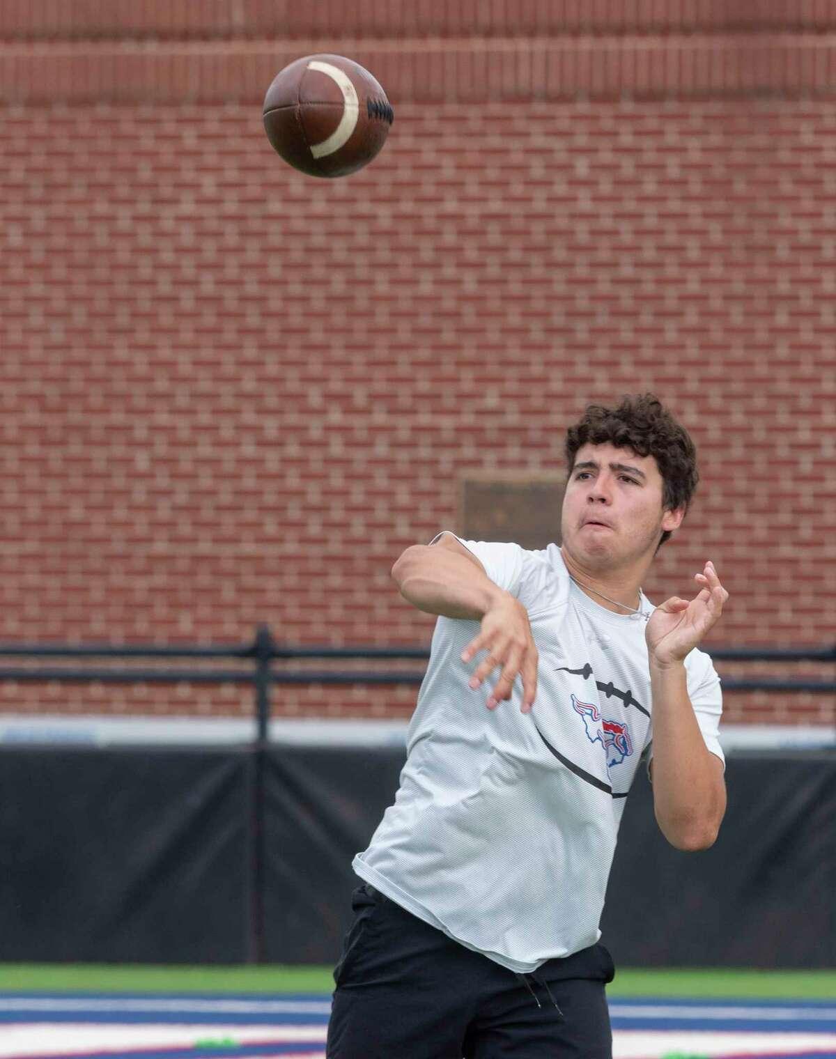Midland Christian quarterback Ryver Rodriguez throws passes 06/21/2021 during MCS 7-on-7 practice. Tim Fischer/Reporter-Telegram