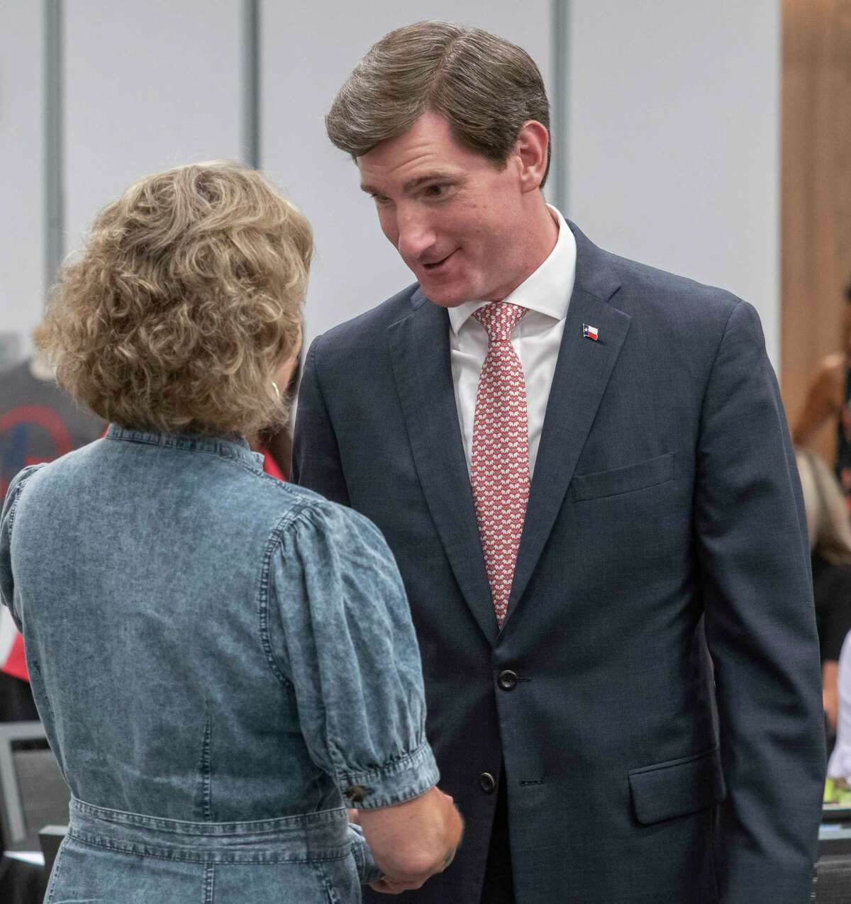 Texas Representative Brooks Landgraf speaks with Sherri Merket 06/21/2021 at the Midland Republican National Hispanic Assembly luncheon. Tim Fischer/Reporter-Telegram