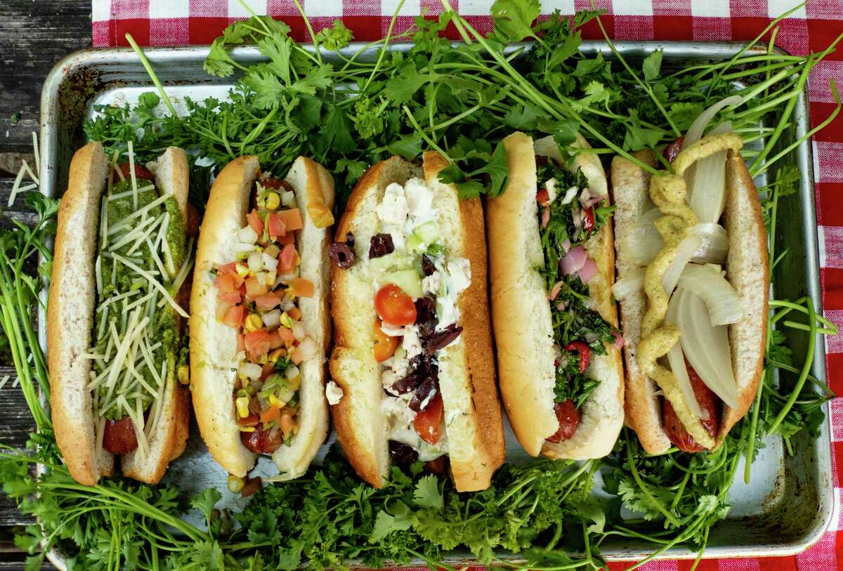 A variety of hot dogs for the 4th of July.