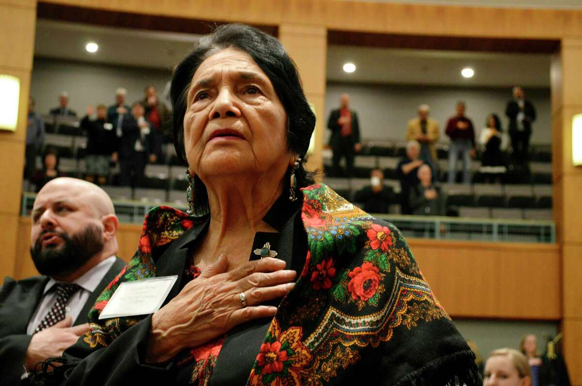 Teaching about the Chicano Civil Rights Movement of the 1970s may not be popular, but our students should know that it happened and why. Today, it is absent from most textbooks. Dolores Huerta, the Mexican-American social activist who formed a farmworkers union with Cesar Chavez, stands for the Pledge of Allegiance in 2019 in New Mexico.