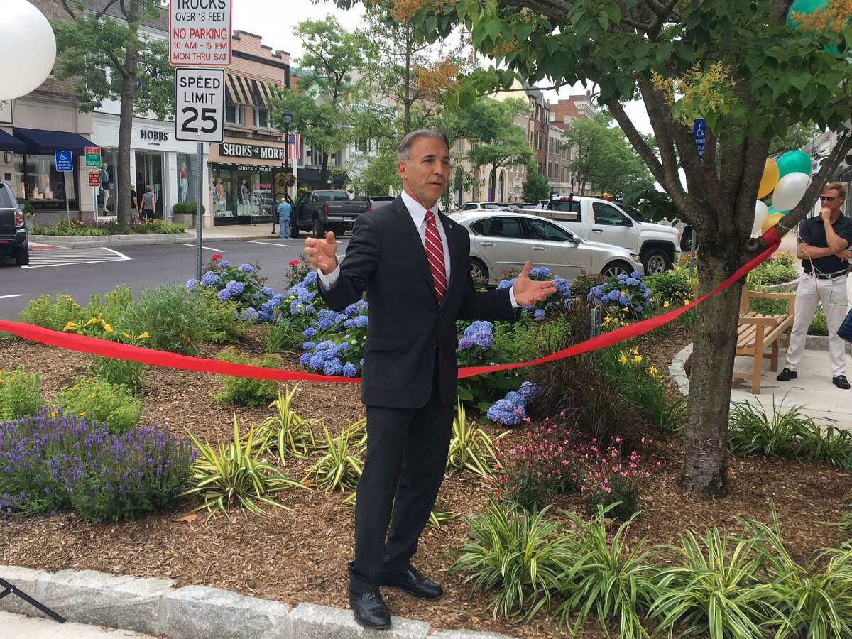 At a ribbon-cutting ceremony Monday morning, First Selectman Fred Camillo said safety improvements at a busy intersection of Greenwich Avenue are a major enhancement.