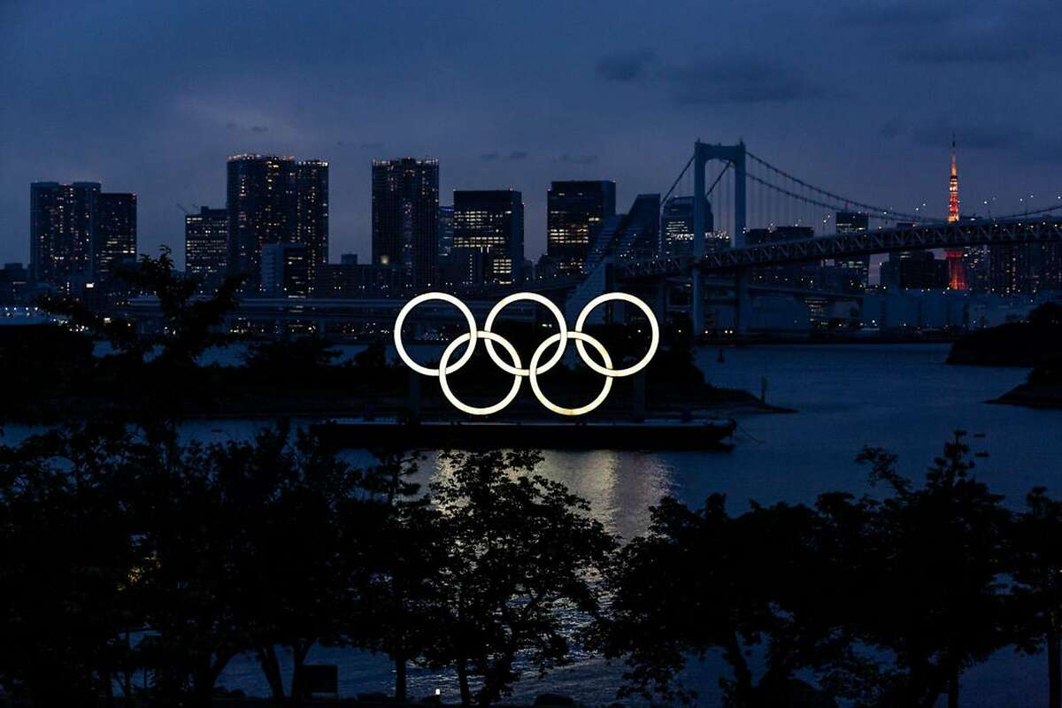 The Olympic Rings are displayed by the Odaiba Marine Park Olympic venue on June 3, 2021, in Tokyo, Japan. (Yuichi Yamazaki/Getty Images/TNS)